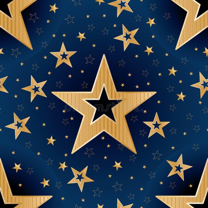 Χρυσό άνευ ραφής σχέδιο καληνύχτας αστεριών διανυσματική απεικόνιση