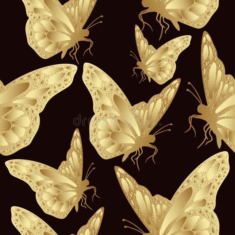Χρυσό άνευ ραφής σχέδιο πεταλούδων Σχέδιο πολυτέλειας, ακριβό κόσμημα ελεύθερη απεικόνιση δικαιώματος