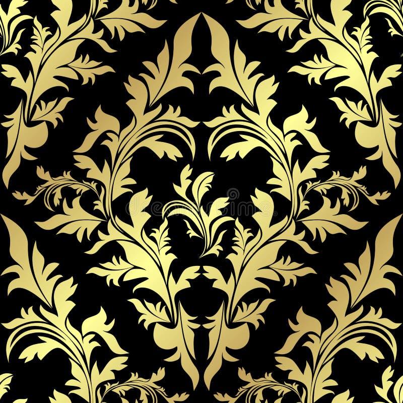 Χρυσό άνευ ραφής floral σχέδιο σε ένα μαύρο backgrou ελεύθερη απεικόνιση δικαιώματος