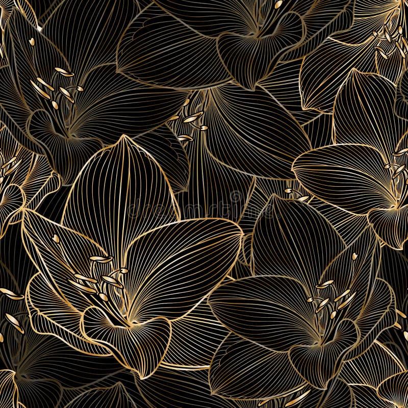 Χρυσό άνευ ραφής floral υπόβαθρο χέρι-σχεδίων με τα amaryllis λουλουδιών στοκ εικόνα