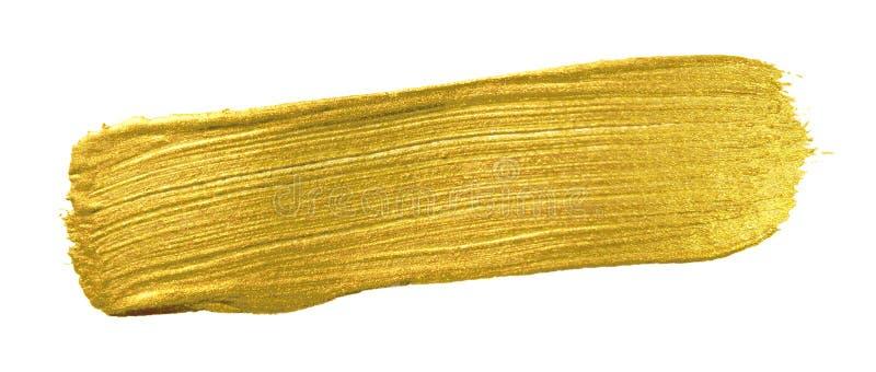 Χρυσό έμβλημα βουρτσών χρωμάτων χρώματος Ακρυλικός χρυσός λεκές κτυπήματος κηλίδων στο άσπρο υπόβαθρο Λάμψτε λεπτομερές περίληψη  στοκ φωτογραφία με δικαίωμα ελεύθερης χρήσης