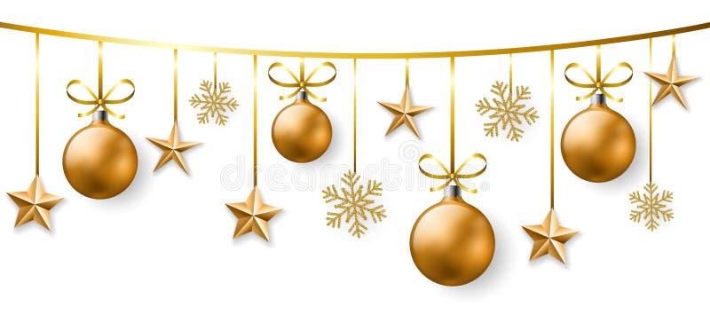Χρυσό έμβλημα διακοσμήσεων Χριστουγέννων στο άσπρο υπόβαθρο διανυσματική απεικόνιση