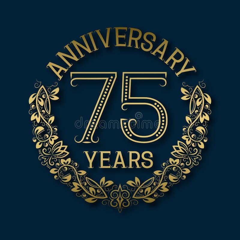 Χρυσό έμβλημα της επετείου των εβδομήντα πέμπτων ετών Εορτασμός που διαμορφώνεται logotype απεικόνιση αποθεμάτων