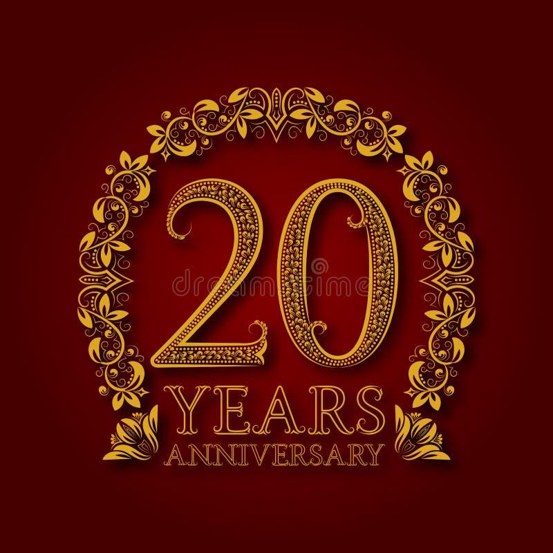 Χρυσό έμβλημα της επετείου των εικοστών ετών Εορτασμός που διαμορφώνεται logotype με τη σκιά στο κόκκινο ελεύθερη απεικόνιση δικαιώματος