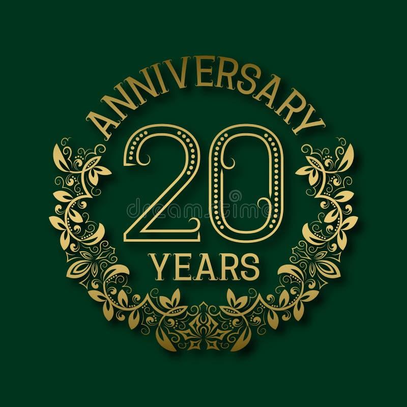 Χρυσό έμβλημα της επετείου των εικοστών ετών Εορτασμός που διαμορφώνεται logotype ελεύθερη απεικόνιση δικαιώματος