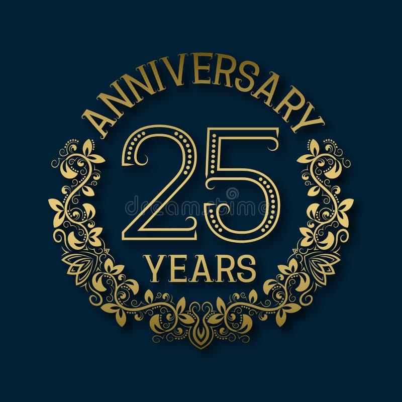 Χρυσό έμβλημα της επετείου των εικοστών πέμπτων ετών Εορτασμός που διαμορφώνεται logotype ελεύθερη απεικόνιση δικαιώματος