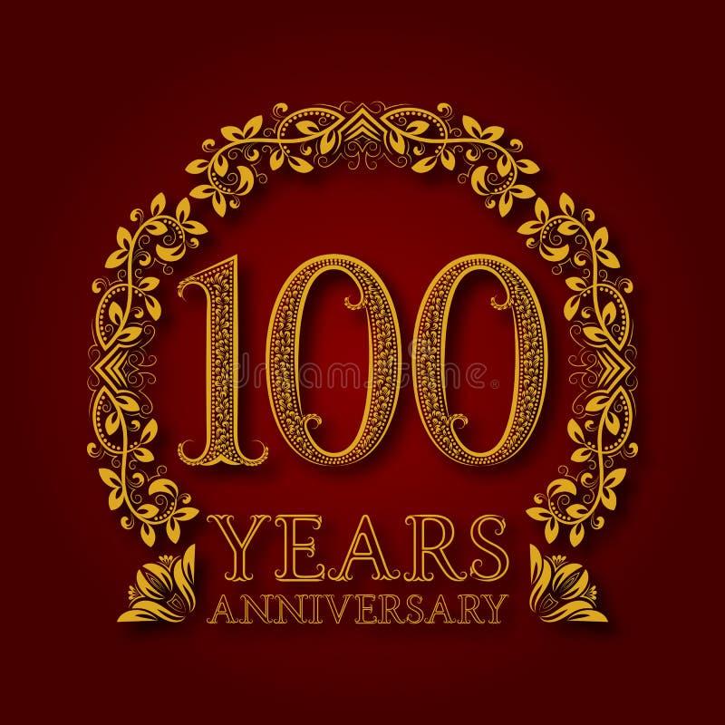 Χρυσό έμβλημα της επετείου των εκατοστών ετών Εορτασμός που διαμορφώνεται logotype με τη σκιά στο κόκκινο ελεύθερη απεικόνιση δικαιώματος