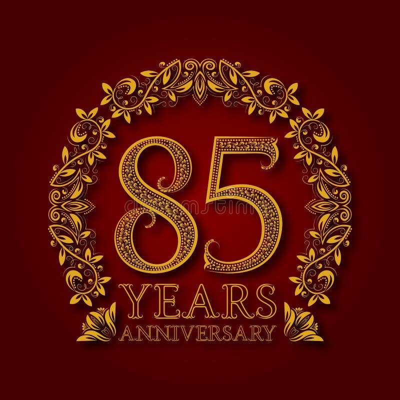 Χρυσό έμβλημα της επετείου των ογδόντα πέμπτων ετών Εορτασμός που διαμορφώνεται logotype με τη σκιά στο κόκκινο ελεύθερη απεικόνιση δικαιώματος