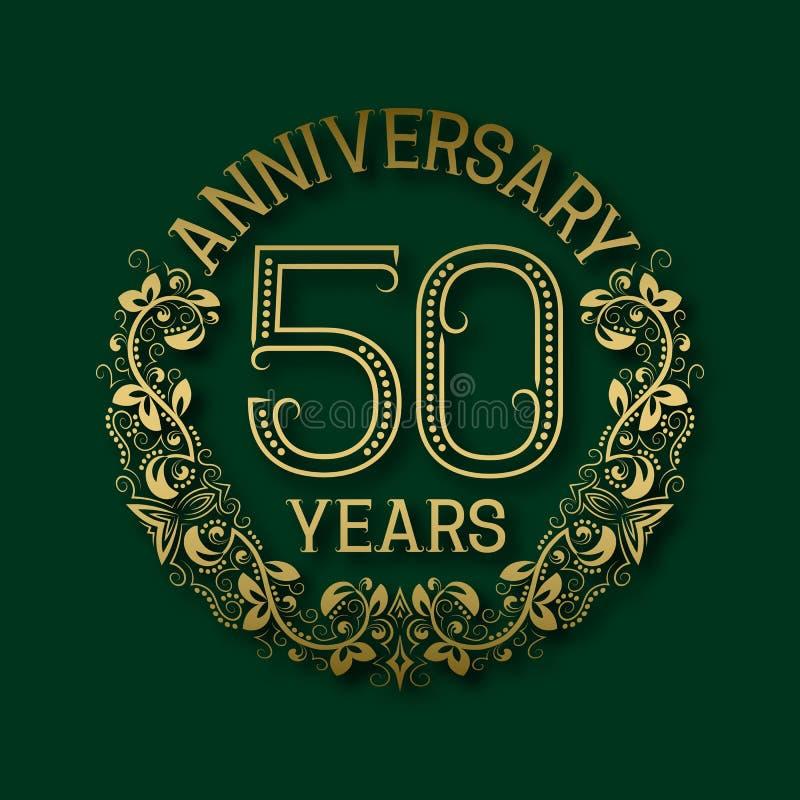 Χρυσό έμβλημα της επετείου των πεντηκοστών ετών Εορτασμός που διαμορφώνεται logotype διανυσματική απεικόνιση