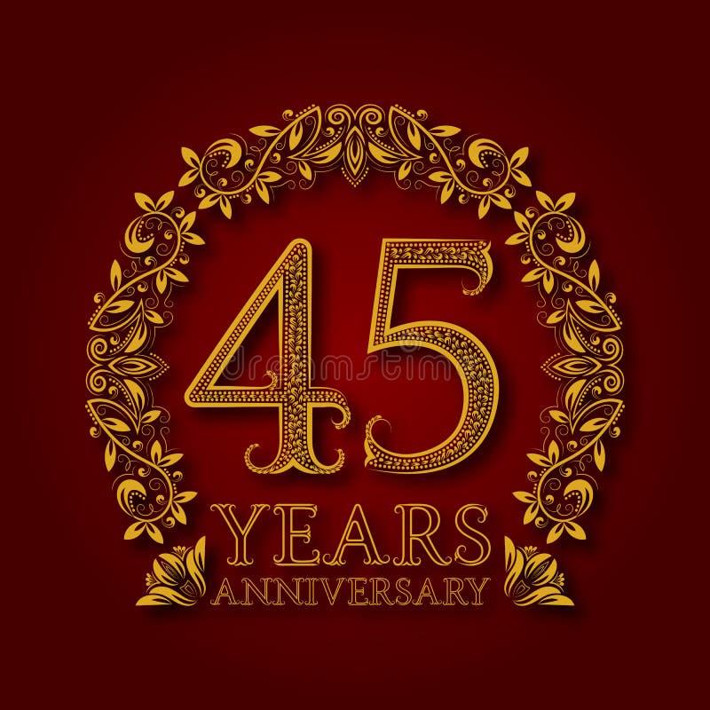 Χρυσό έμβλημα της επετείου των σαράντα πέμπτων ετών Εορτασμός που διαμορφώνεται logotype με τη σκιά στο κόκκινο απεικόνιση αποθεμάτων