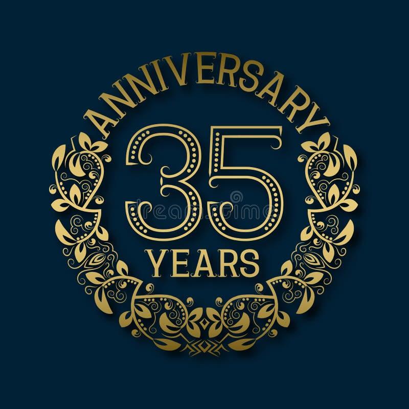 Χρυσό έμβλημα της επετείου των τριάντα πέμπτων ετών Εορτασμός που διαμορφώνεται logotype διανυσματική απεικόνιση