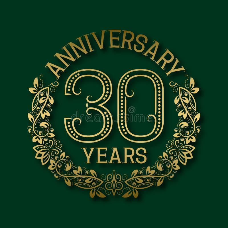 Χρυσό έμβλημα της επετείου των τριακοστών ετών Εορτασμός που διαμορφώνεται logotype ελεύθερη απεικόνιση δικαιώματος