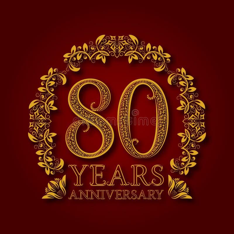 Χρυσό έμβλημα της ογδοεικοστής επετείου ετών Εορτασμός που διαμορφώνεται logotype με τη σκιά στο κόκκινο διανυσματική απεικόνιση