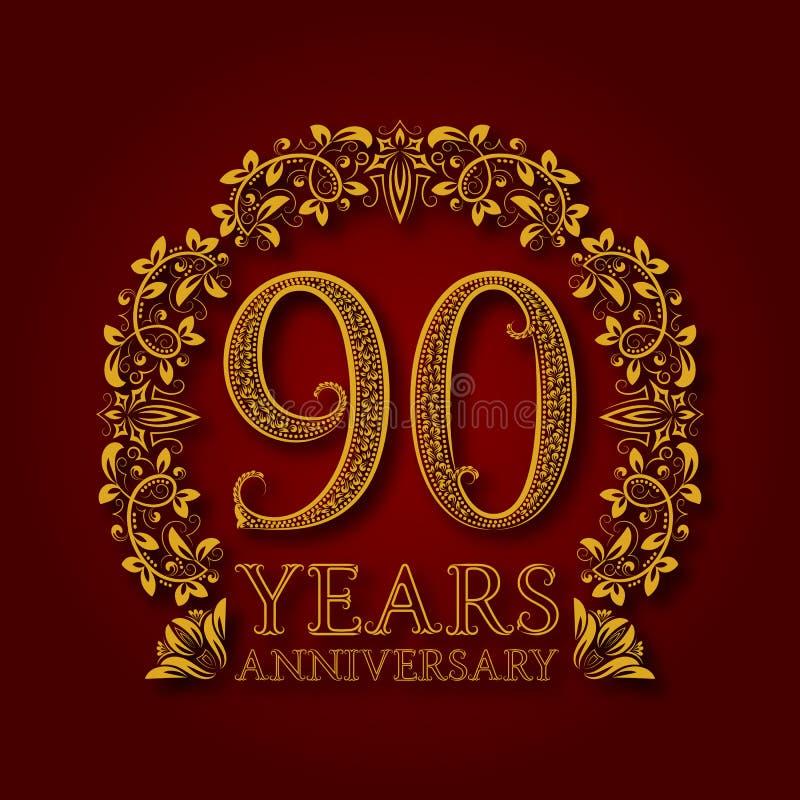 Χρυσό έμβλημα της ninetieth επετείου ετών Εορτασμός που διαμορφώνεται logotype με τη σκιά στο κόκκινο απεικόνιση αποθεμάτων