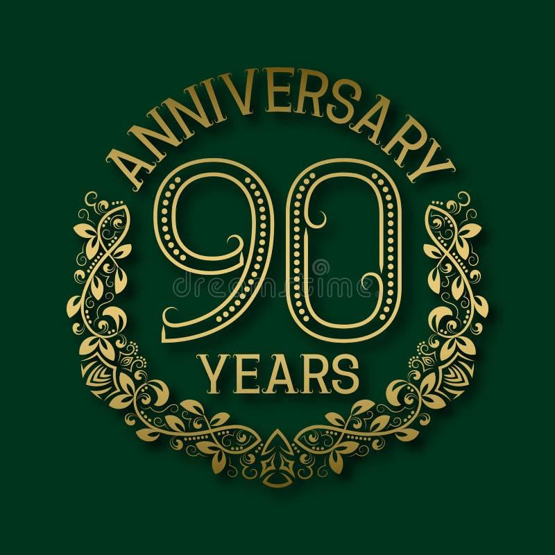 Χρυσό έμβλημα της ninetieth επετείου ετών Εορτασμός που διαμορφώνεται logotype διανυσματική απεικόνιση