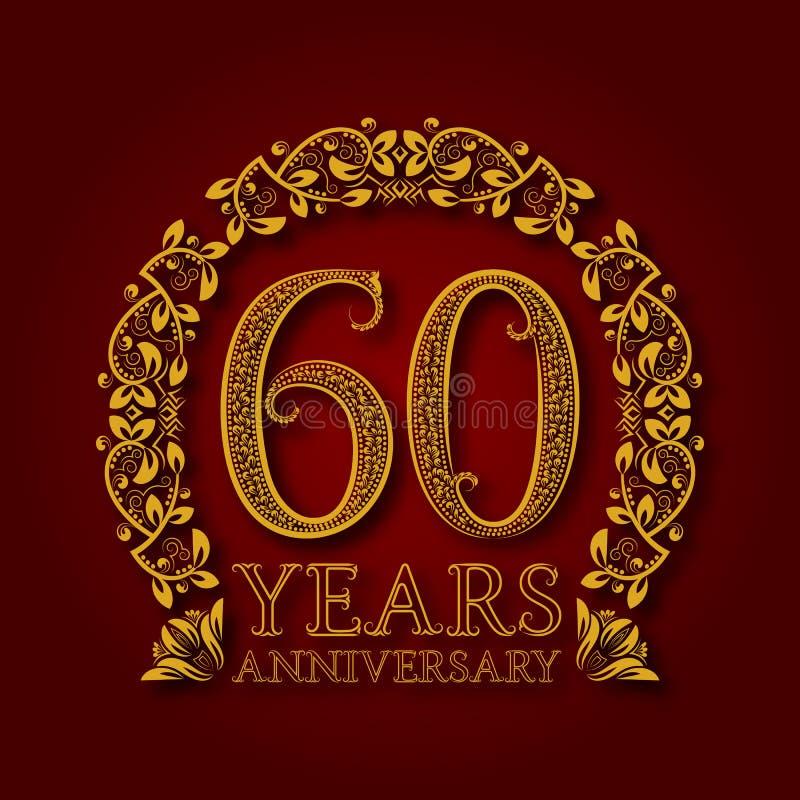 Χρυσό έμβλημα της sixtieth επετείου ετών Εορτασμός που διαμορφώνεται logotype με τη σκιά στο κόκκινο ελεύθερη απεικόνιση δικαιώματος
