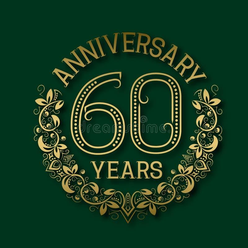 Χρυσό έμβλημα της sixtieth επετείου ετών Εορτασμός που διαμορφώνεται logotype ελεύθερη απεικόνιση δικαιώματος