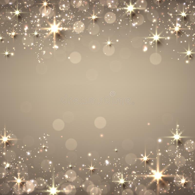 Χρυσό έναστρο υπόβαθρο Χριστουγέννων ελεύθερη απεικόνιση δικαιώματος