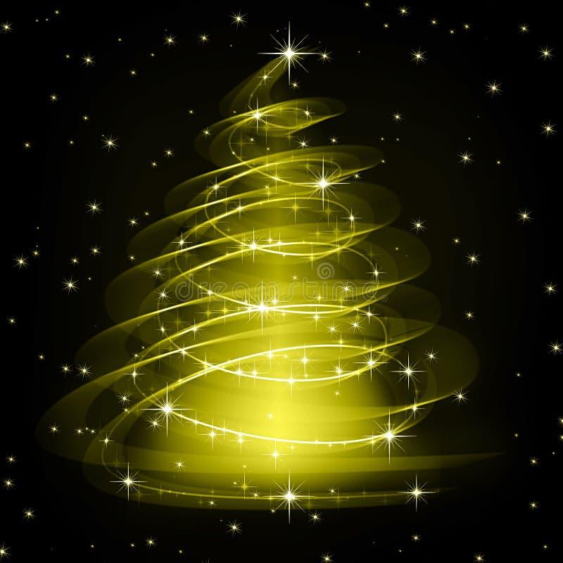 Χρυσό δέντρο Χριστουγέννων, όμορφα snowflakes και απεικόνιση αποθεμάτων