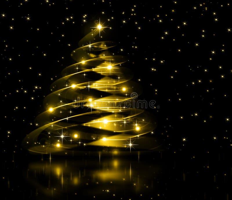 Χρυσό δέντρο Χριστουγέννων, όμορφα snowflakes και διανυσματική απεικόνιση