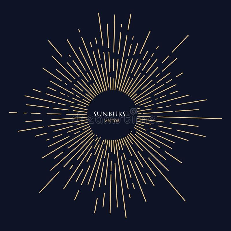 Χρυσό ήλιων ακτίνων ύφος σχεδίων χεριών εικόνων διαθέσιμο Η επίδραση της έκρηξης απεικόνιση αποθεμάτων