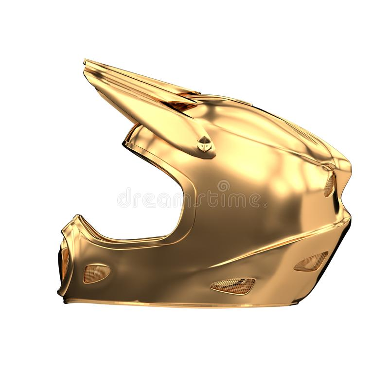 Χρυσό αθλητικό κράνος Moto που απομονώνεται διανυσματική απεικόνιση