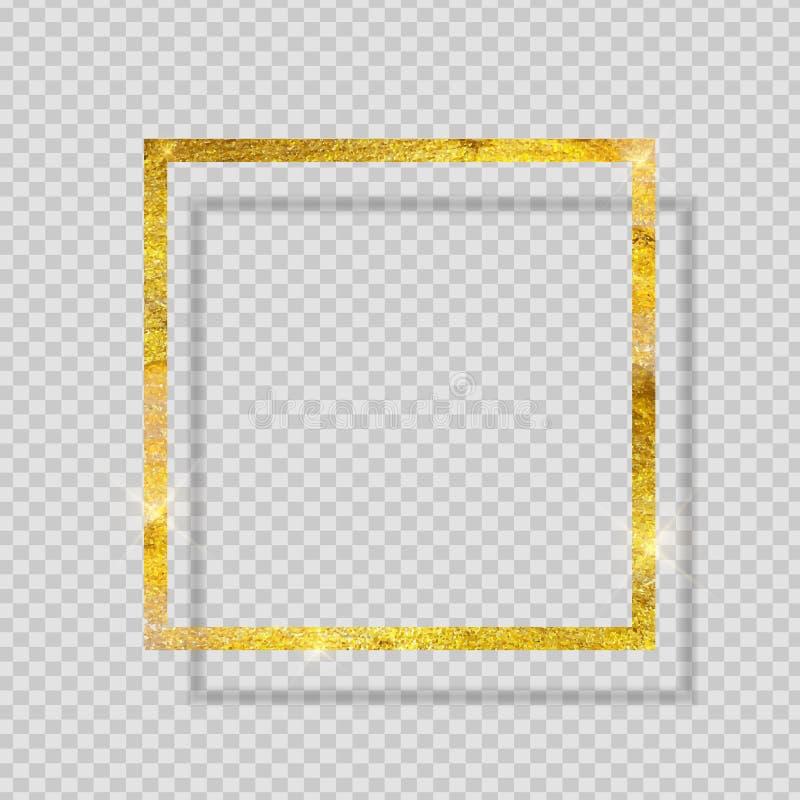 Χρυσό ακτινοβολώντας κατασκευασμένο πλαίσιο χρωμάτων στο διαφανές υπόβαθρο επίσης corel σύρετε το διάνυσμα απεικόνισης ελεύθερη απεικόνιση δικαιώματος