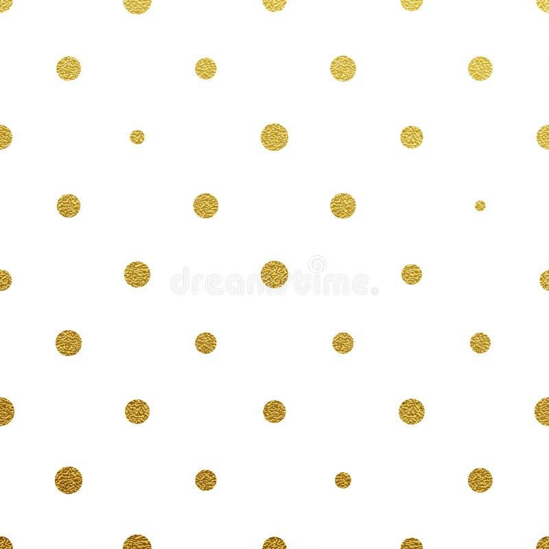 Χρυσό ακτινοβολώντας μικρό άνευ ραφής σχέδιο σημείων Πόλκα διανυσματική απεικόνιση