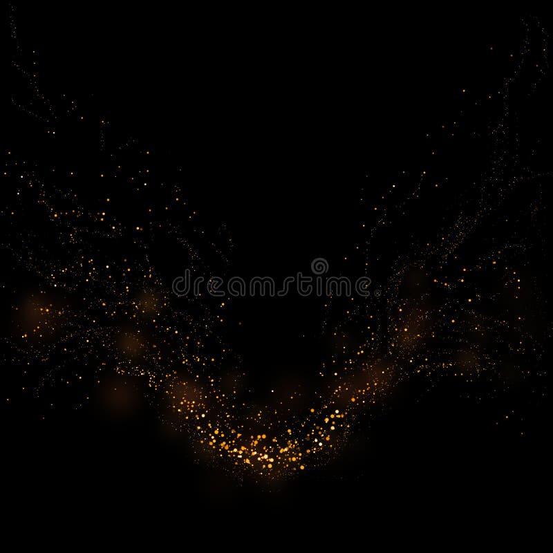 Χρυσό ακτινοβολώντας φως αστεριών και bokeh Μαγικό αφηρημένο backgro σκόνης διανυσματική απεικόνιση
