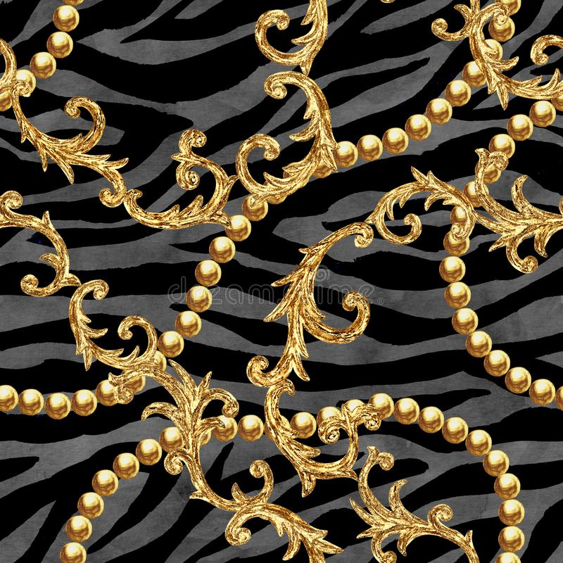Χρυσό αλυσίδων γοητείας μπαρόκ υπόβαθρο σχεδίων ύφους άνευ ραφής απεικόνιση αποθεμάτων