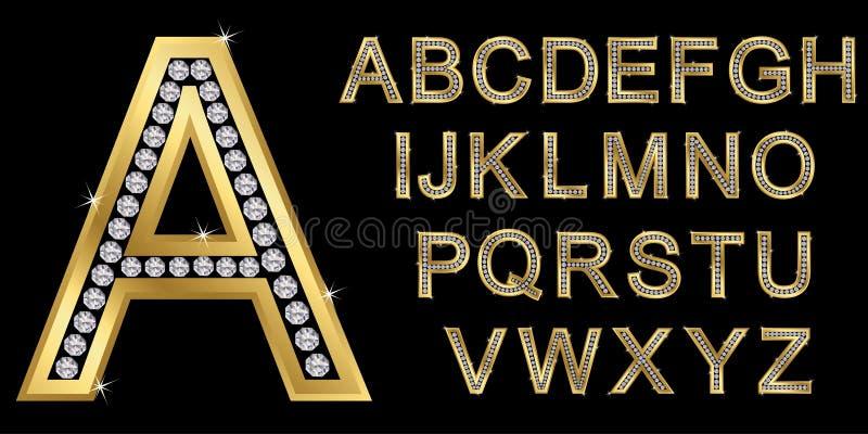 Χρυσό αλφάβητο με τα διαμάντια, επιστολές από το Α στο Ω διανυσματική απεικόνιση