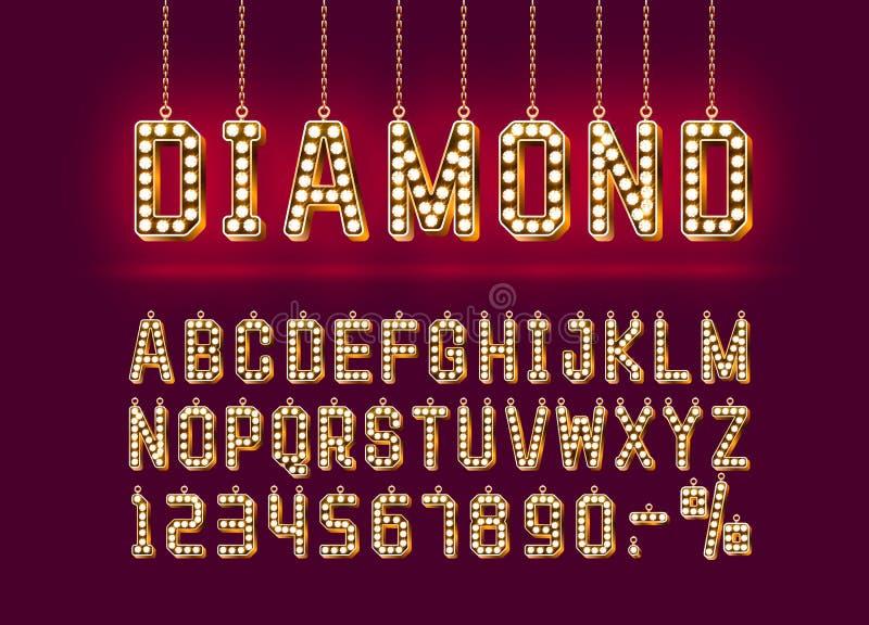 Χρυσό αλφάβητο πηγών διαμαντιών, σημάδι αριθμού r διανυσματική απεικόνιση