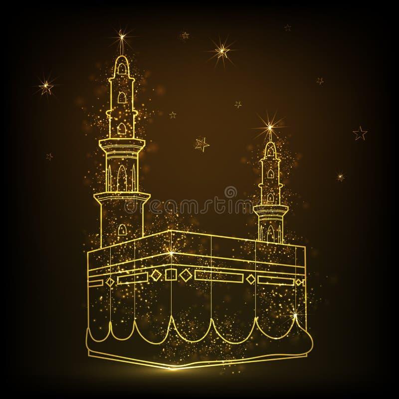 Χρυσό λαμπρό Kaaba, Mekkah ελεύθερη απεικόνιση δικαιώματος