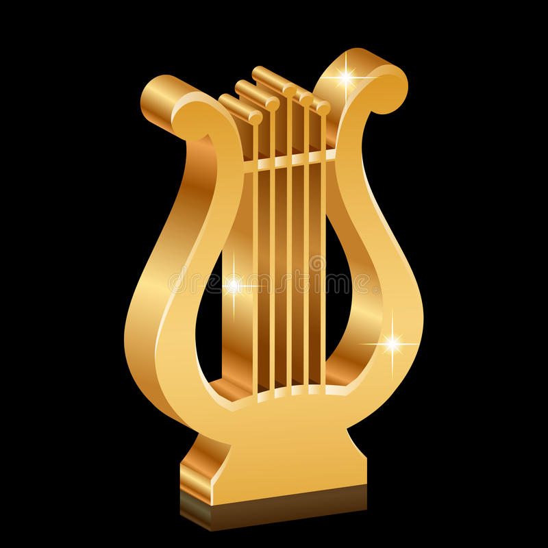Χρυσό λαμπρό lyre ελεύθερη απεικόνιση δικαιώματος