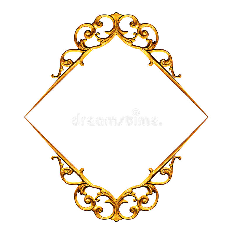 χρυσό απομονωμένο λευκό πλαισίων στοκ εικόνα με δικαίωμα ελεύθερης χρήσης