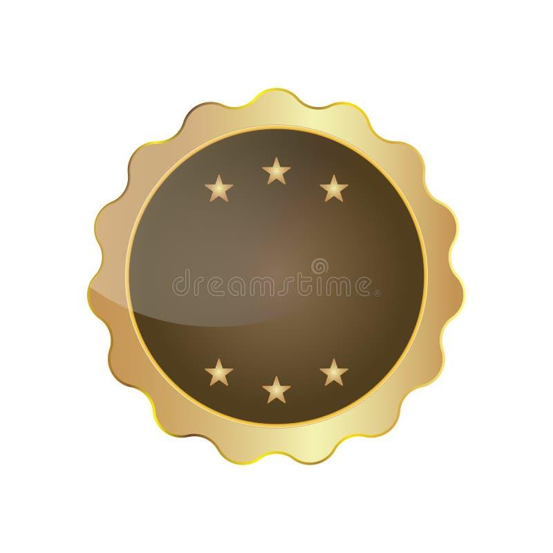 Χρυσό απομονωμένο κενό διάνυσμα κορδελλών διακριτικών σφραγίδων με τα αστέρια απεικόνιση αποθεμάτων