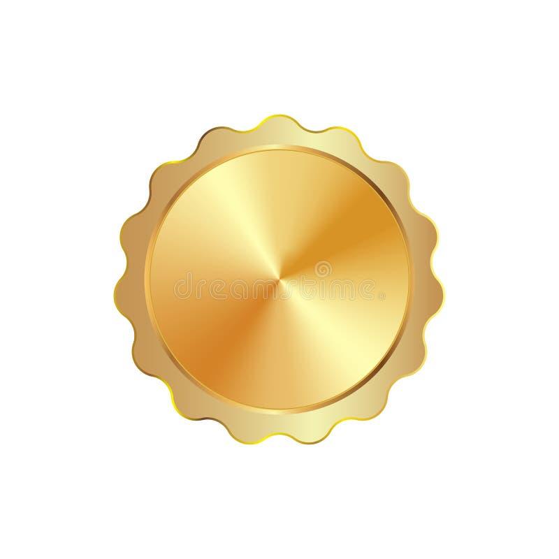 Χρυσό απομονωμένο κορδέλλα διάνυσμα διακριτικών γραμματοσήμων σφραγίδων ελεύθερη απεικόνιση δικαιώματος