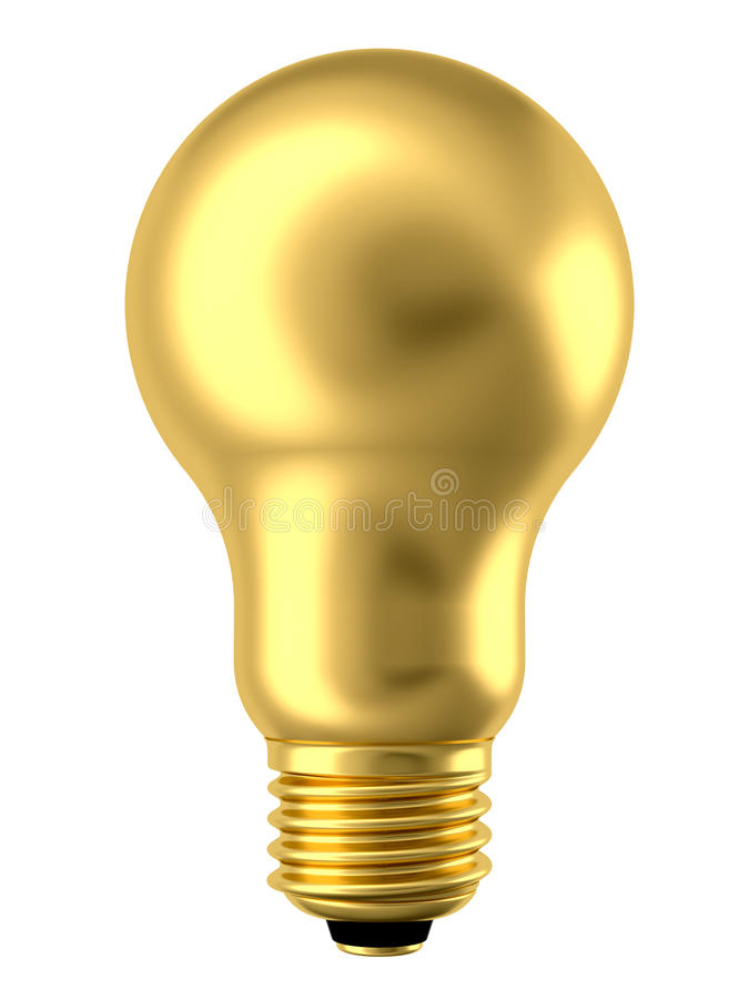 χρυσό απομονωμένο lightbulb λευ&ka ελεύθερη απεικόνιση δικαιώματος
