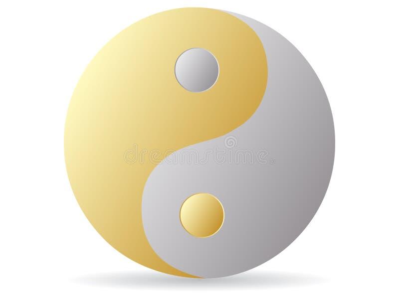 χρυσό ασημένιο yang yin διανυσματική απεικόνιση