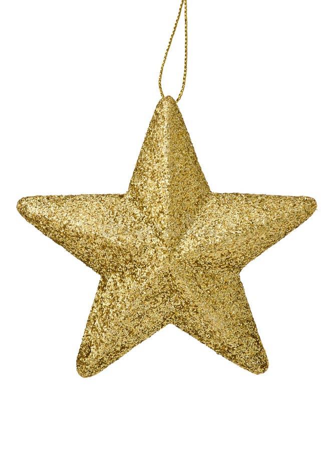 Χρυσό αστέρι Χριστουγέννων που απομονώνεται στο λευκό στοκ φωτογραφία