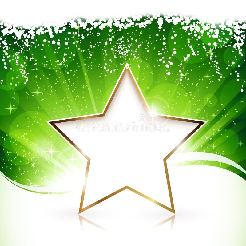 Χρυσό αστέρι Χριστουγέννων στην πράσινη ανασκόπηση ελεύθερη απεικόνιση δικαιώματος