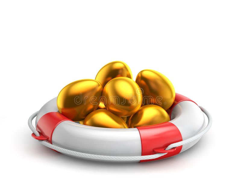 Χρυσό αυγό Πάσχας μέσα σε lifebuoy ελεύθερη απεικόνιση δικαιώματος