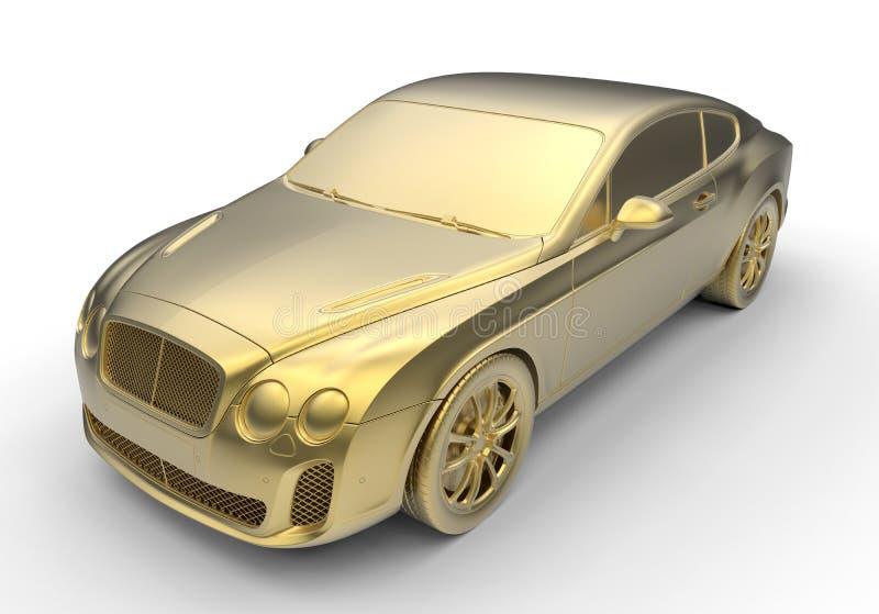 Χρυσό αυτοκίνητο πολυτέλειας απεικόνιση αποθεμάτων