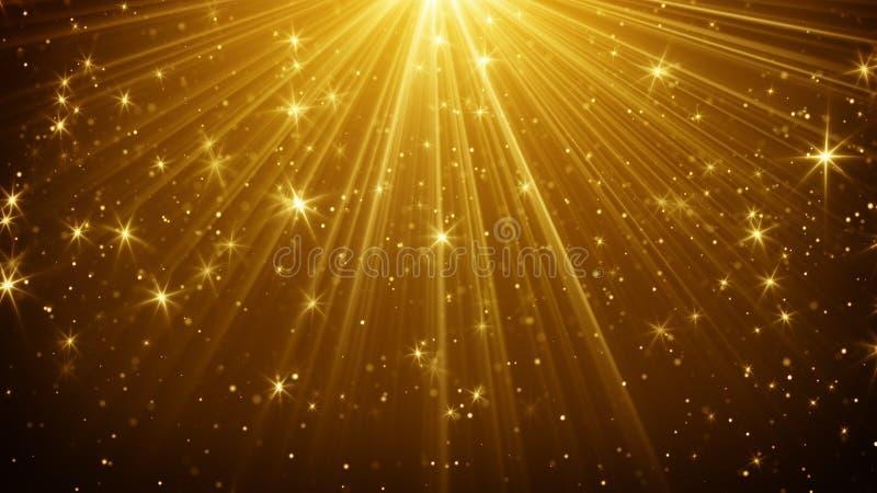 Χρυσό αφηρημένο υπόβαθρο ελαφριών ακτίνων και αστεριών ελεύθερη απεικόνιση δικαιώματος