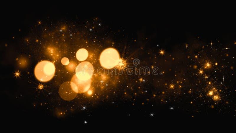 Χρυσό αφηρημένο υπόβαθρο bokeh πραγματικά μόρια σκόνης με τα πραγματικά αστέρια φλογών φακών ακτινοβολήστε φω'τα Τα αφηρημένα φω' στοκ φωτογραφία με δικαίωμα ελεύθερης χρήσης