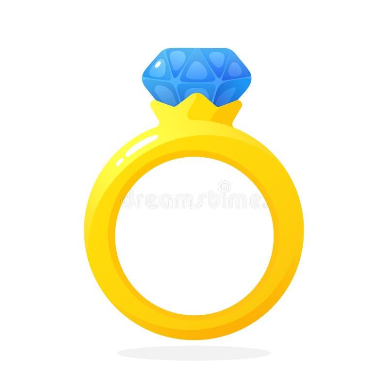 Χρυσό δαχτυλίδι δέσμευσης με ένα διαμάντι ελεύθερη απεικόνιση δικαιώματος