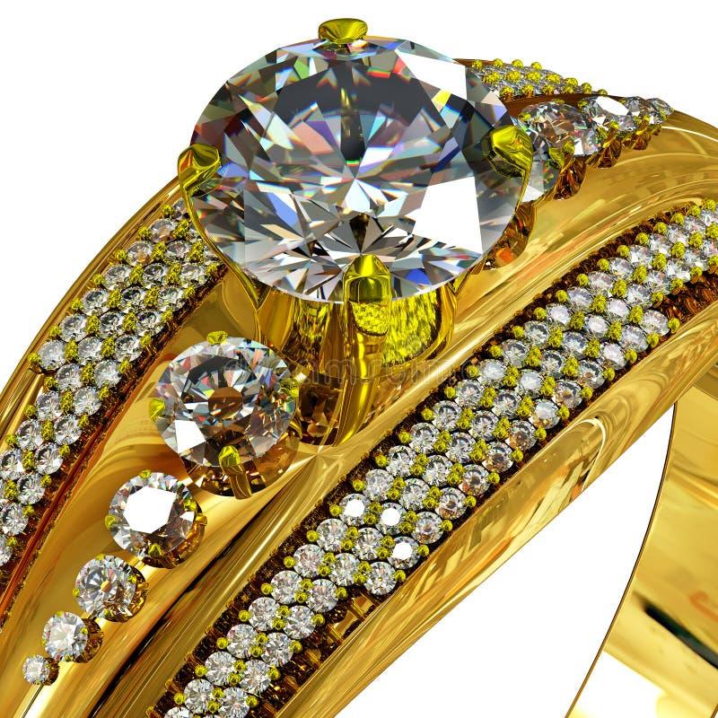 Χρυσό δαχτυλίδι με τον πολύτιμο λίθο Καλλιεργημένος πυροβολισμός των μακρο κοσμημάτων πολυτέλειας απεικόνιση αποθεμάτων
