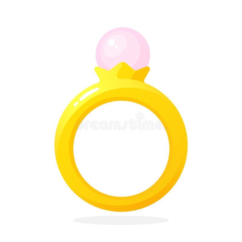 Χρυσό δαχτυλίδι με το μαργαριτάρι απεικόνιση αποθεμάτων