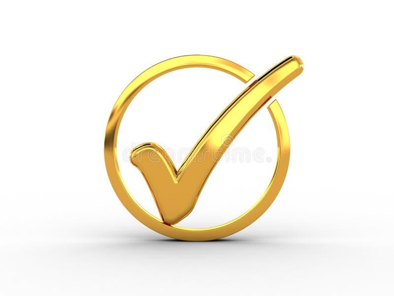 Χρυσό δαχτυλίδι με το σημάδι ελέγχου απεικόνιση αποθεμάτων