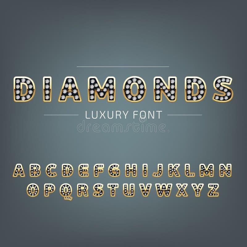 Χρυσό αλφάβητο με τα διαμάντια διανυσματική απεικόνιση